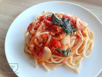 【トマトとツナのパスタ】レシピ